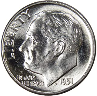 1951 10c Roosevelt Silver Dime US Coin Uncirculated Mint State