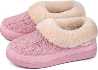 HomeTop Women's Cozy Cable Knit Memory Foam House Shoes Slipper with Fuzzy Plush Collar