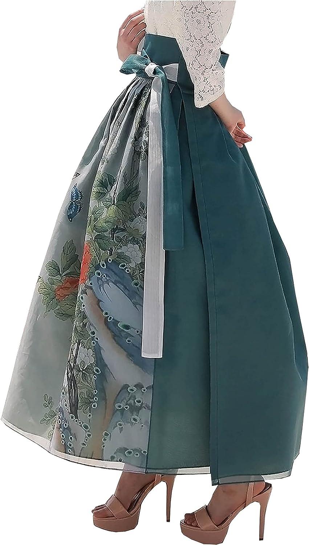 Korean Traditional Painting Skirt Modern Hanbok Skirt Dress Wrapped Design One Size sbg05 Pink