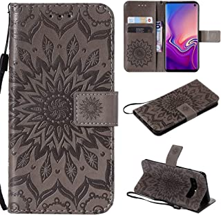 Protective Case Compatible with Samsung Sunflower Printing Design PU Leather Flip Wallet Lanyard Protective Case with Bracket Card Slot Compatible Samsung Galaxy S10 Phone case (Color : Gray)