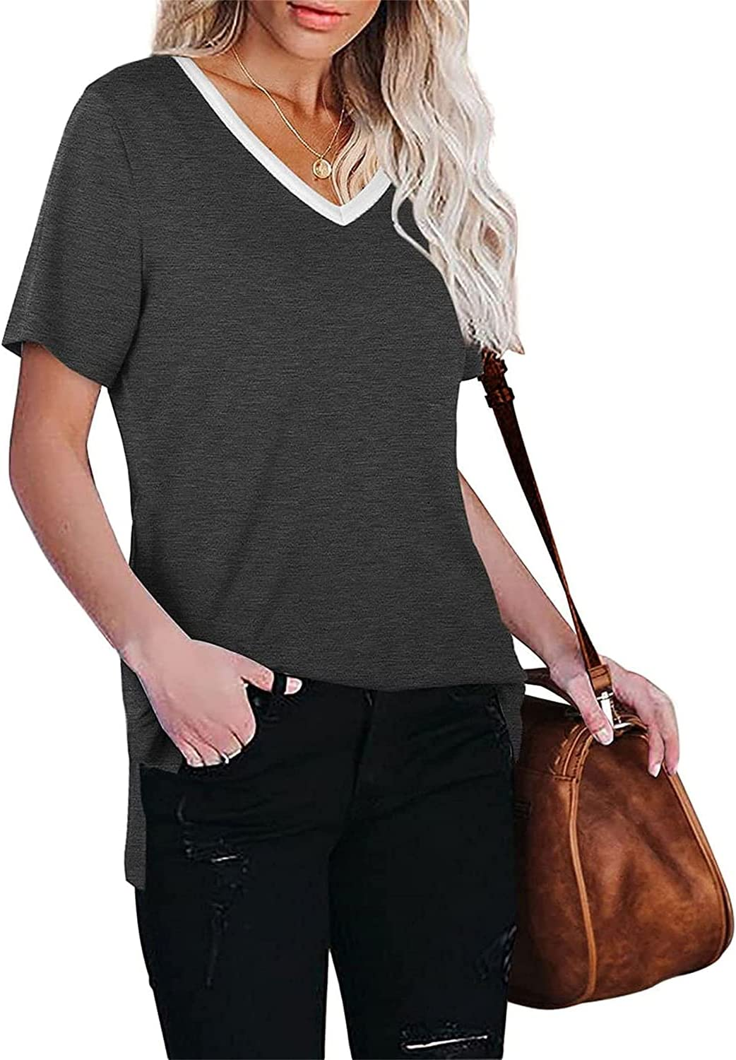 V-Neck Side Split T Shirts for Women Short Sleeve Loose Plain Tunic Tops Casual Comfy Baggy Solid Color Tee Blouse (Grey,X-Large)