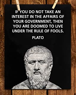 """Plato Quotes Wall Art-""""Take Interest in the Affairs of Your Government""""- 8 x 10"""" Plato Bust-Typographic Print-Ready to Fra..."""