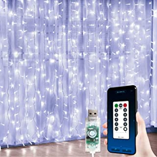 JMEXSUSS 300 LED Hanging Window Curtain Lights White Window Curtain String Lights USB Powered Curtain Lights APP Controlled