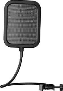 Faunow ポップガード マイク用 ウインドスクリーン ポップブロッカー マイクポップフィルター ノイズ軽減 湿気対策 ツバ飛び防止 360°調整可能 金属製 縦型 フィルターサイズ約14*12cm ブラック