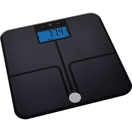 EMOS Báscula digital con IMC, función de memoria, báscula de peso/grasa  corporal, báscula digital de cristal de seguridad, medición de grasa  corporal, masa muscular, agua y pilas incluidas : Amazon.es: Salud y