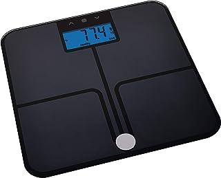 Emos Báscula Digital con función de Memoria y BMI (balanza de Peso, Cristal de Seguridad, Mide la Grasa Corporal, Masa Muscular, Agua y Pilas), Negro, 319 x 319 x 25 mm