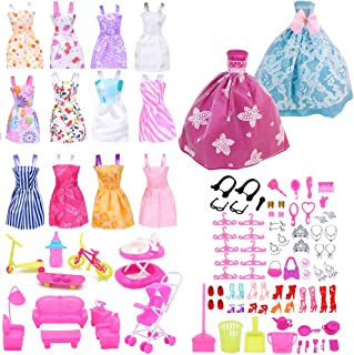 EuTengHao 123Pcs Clothes and Accessories for 11.5 Inch Dolls Contain 13 Party Gown Outfits...