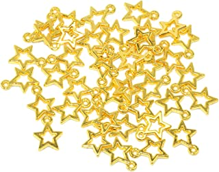 Yansanido Alloy Antique Stars Cute Charms Pendants for Making Bracelet and Necklace (Stars 50pcs Gold)