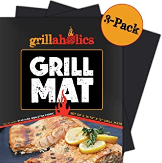 Grillaholics Grill Mat - Set of 3 Heavy Duty BBQ Grill Mats - Non Stick, Reusable and Dishwasher Safe Barbecue Grilling Ac...