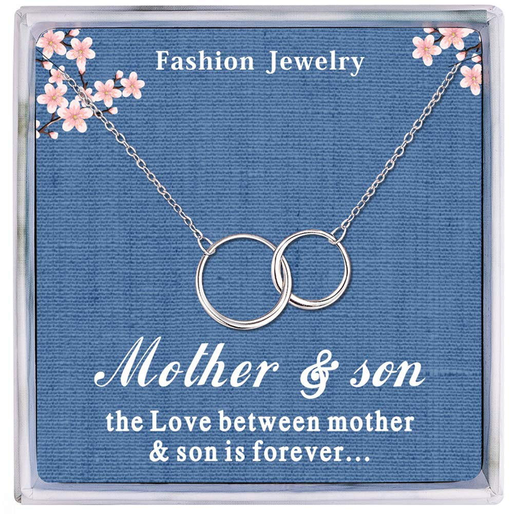 Mothers Day Jewelry Birthday Gift 66 Mother Son Necklace Sterling Silver Two Interlocking Infinity Circles