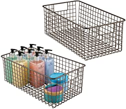 mDesign Farmhouse Decor Metal Wire Bathroom Organizer Storage Bin Basket - for Cabinets, Shelves, Countertops, Bedroom, Ki...