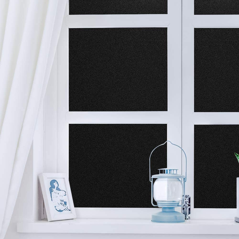 23.6 x 78.7 Inch DUOFIRE Blackout Window Film Heat Resistant White Side Blackout Window Tint Privacy Window Film Room Darkening Frosted Static Cling Window Cover for Day Sleep Home DT-C009-B 60cm x 200cm Bathroom Privacy
