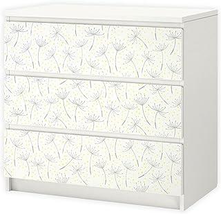nikima 013 - Adhesivo para muebles de IKEA MALM diseño de diente de león 3 cajones adhesivo (muebles no incluidos)