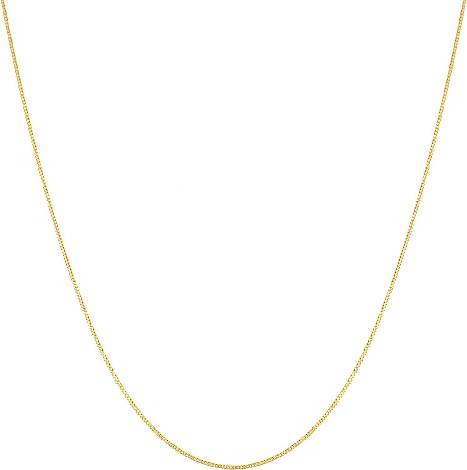 Kooljewelry 14k Yellow Gold 0.7 mm Thin Curb Link Chain Necklace (14, 16, 18, 20, 22, 24 or 30 inch)
