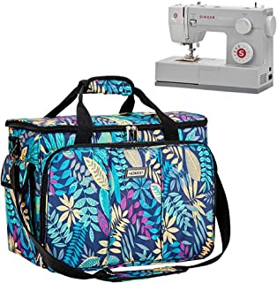 HOMEST Sewing Machine Carrying Case with Multiple Storage Pockets, Universal Tote Bag with Shoulder Strap Compatible with Most Standard Singer, Brother, Janome (Floral)