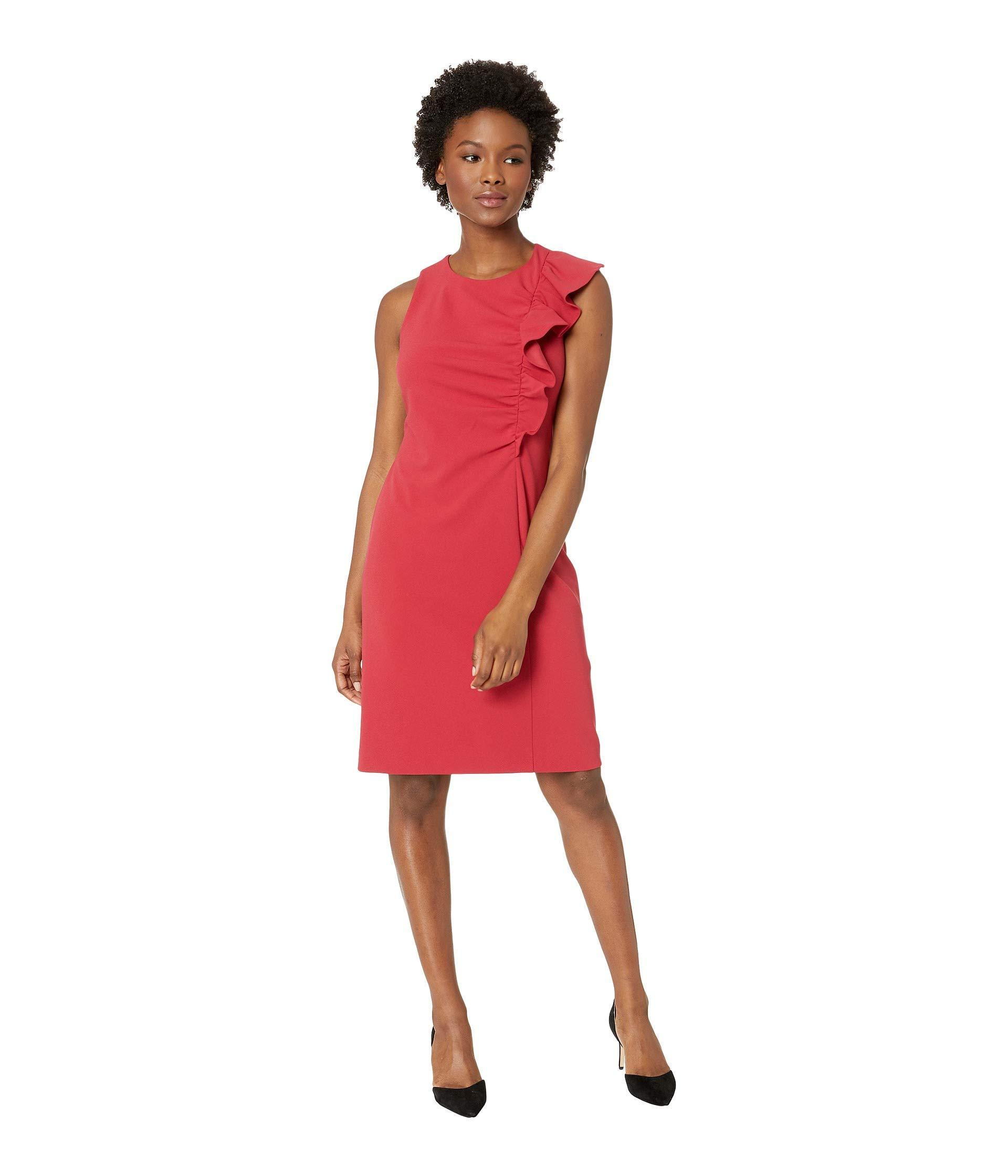Available at Amazon: Vince Camuto Women's Sleeveless Asymmetrical Ruffle Ponte Dress