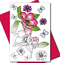 Art Eclect Adult Coloring Flower Greeting Cards for Birthdays, Anniversary, Thank You and Sympathy Cards (10 Cards With 10 Different Unique Designs and 10 Fuchsia Envelopes, Set Flowers B/Pink