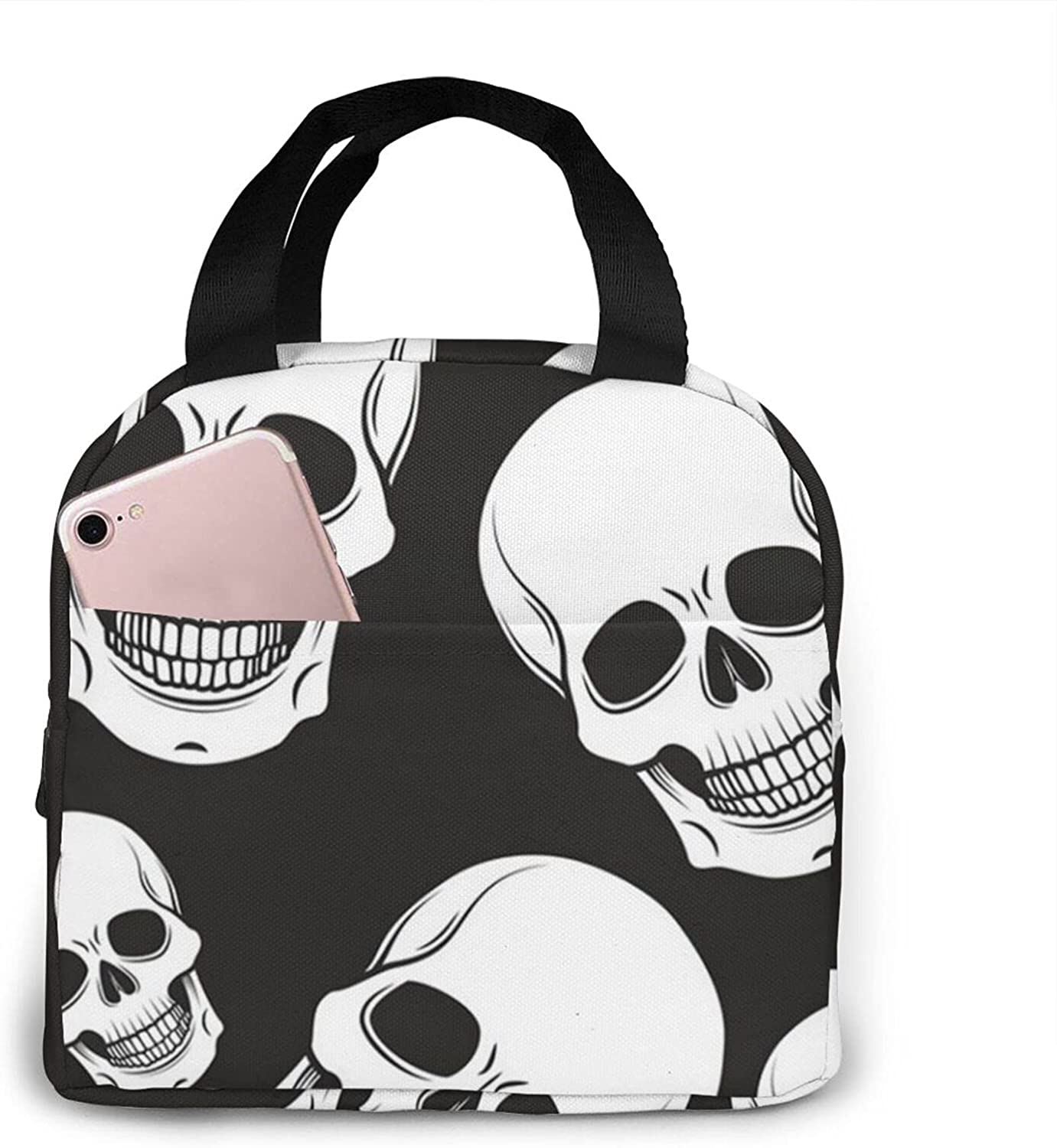 SWEET TANG Lunch Box Black and Skull Mom for Organizer Popularity New sales Bag White
