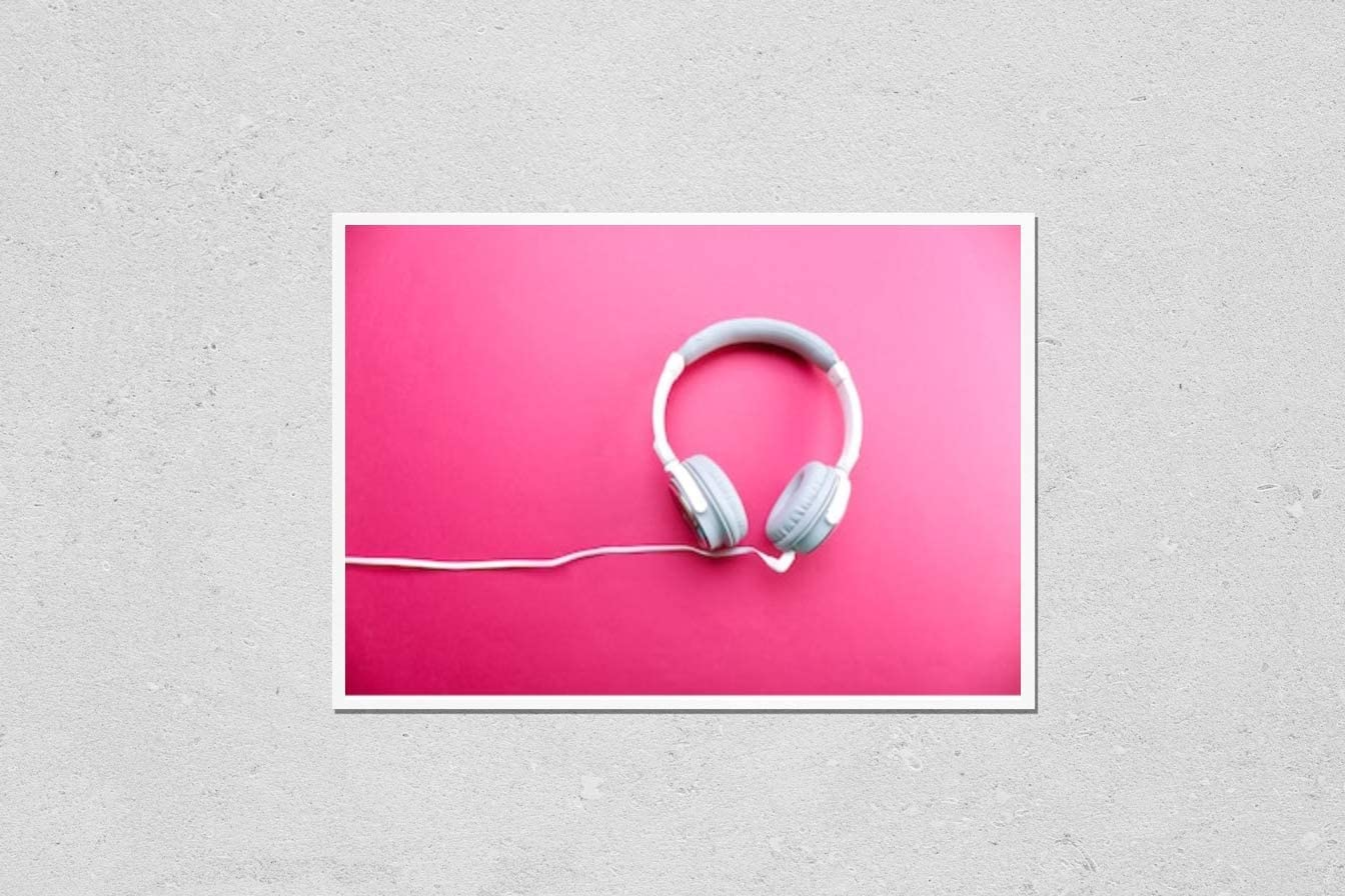 KwikMedia Poster Reproduction of White and Grey Headphones on Pink Background