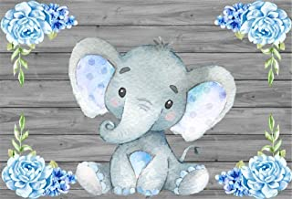 AOFOTO 5x3ft Cute Baby Elephant Backdrop Baby Shower Party Decoration Photography Background Sweet Watercolor Flower Cartoon Animal Photo Studio Props Newborn Infant Girl Kid Boy Child Birthday Banner
