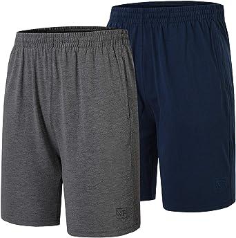 JINSHI Men's 2 Pack Lounge Shorts Pyjama Bottoms 100% Cotton Loungewear Sleepwear PJ Shorts