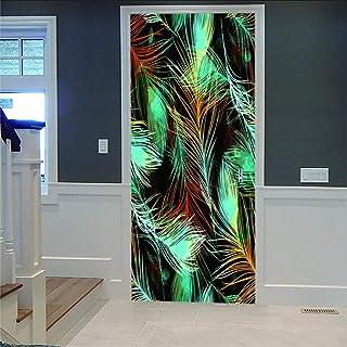 LOVEJJ Stickers de Porte 3D Plume Déco Murale Qualité HD PVC Douche Bureau Salon Décoration Couloir Peinture Murale DéCora...