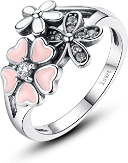 Presentski Cherry Blossom Ring,925 Sterling Silver with Cubic Zirconia for Women,Size 6 7 8 9