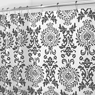 mDesign Long Decorative Damask Print - Easy Care Fabric Shower Curtain with Reinforced Buttonholes, for Bathroom Showers, Stalls and Bathtubs, Machine Washable - 72