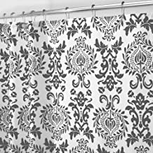 "mDesign Damask Fabric Shower Curtain - Long, 72"" x 84"", Charcoal Gray"