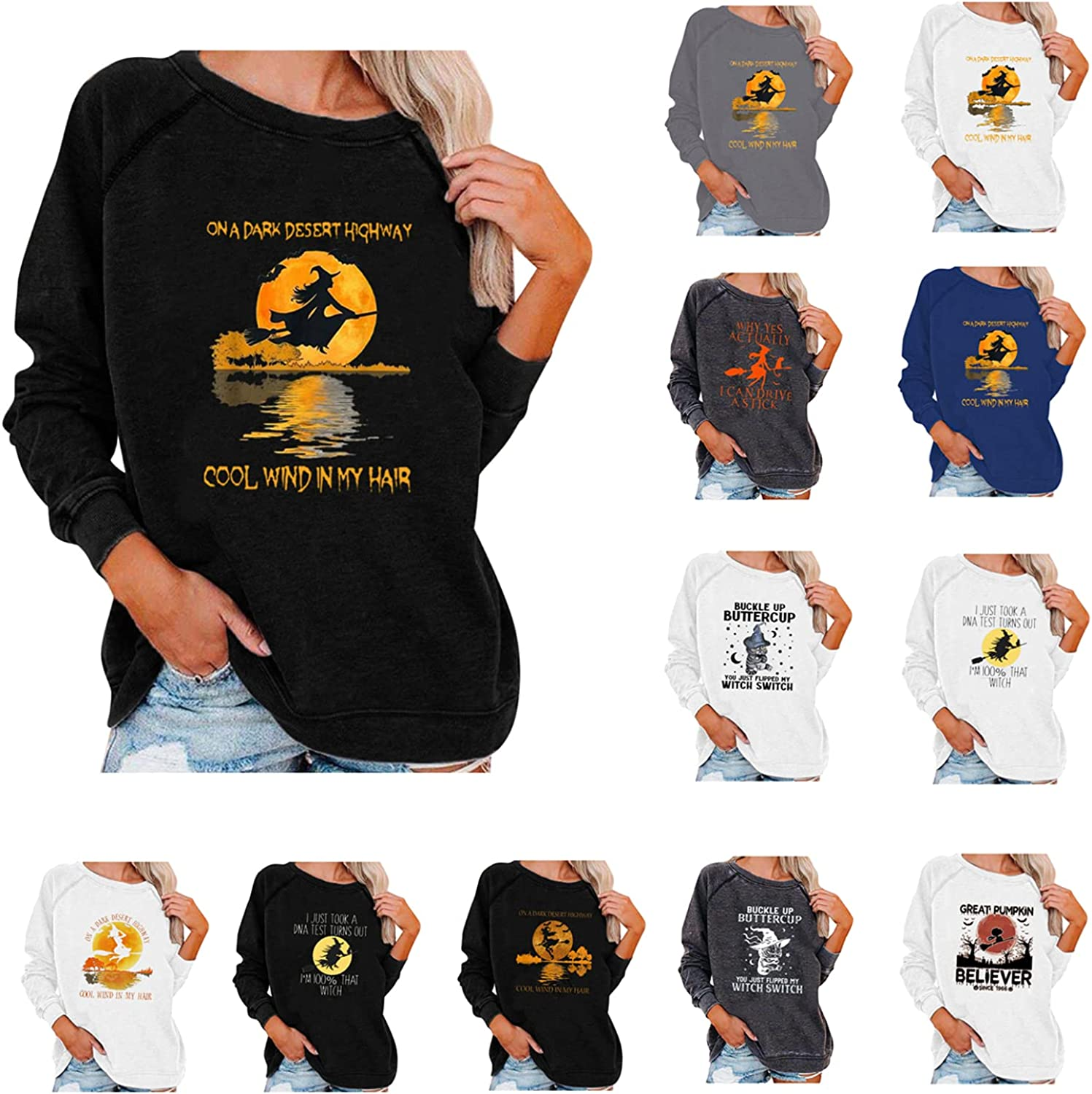 Halloween Sweatshirts for Women Casual Crewneck Pullover Tops Long Sleeve Tee Shirt Witch Broom Graphic Blouse Sweaters