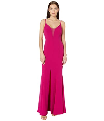 BCBGMAXAZRIA Sheer Inset Gown Dress (Vivia Fuchsia) Women