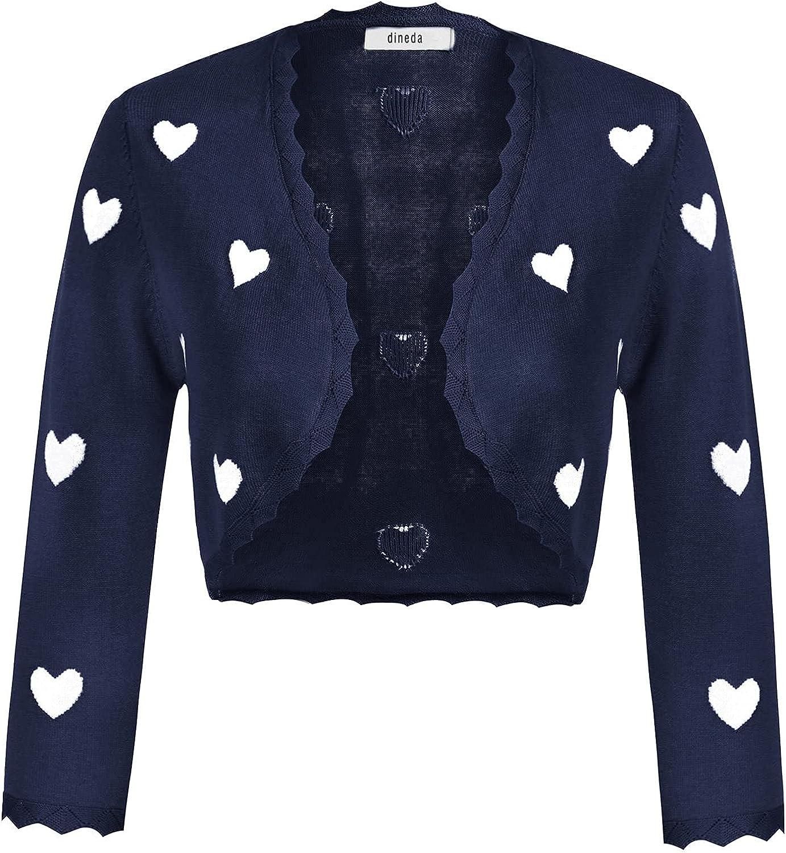 dineda Women's 3/4 Sleeve Open Front Scalloped Knit Cropped Bolero Shrug Cardigan Navy