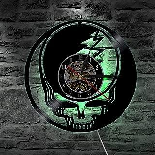 レトロな郷愁 ビニールレコード壁掛け時計 リモコンナイトライトクロック クォーツムーブメント 30cm 部屋の飾り,D