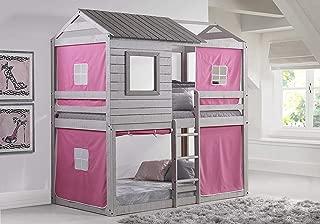 Donco Kids 1370-TTLG_1370-DP Deer Blind Bunk Loft Bed with Pink Tent, Twin/Twin, Light Grey