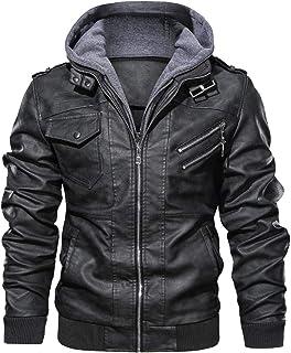 Mens Distressed Genuine Leather Motorcycle Jacket Hooded
