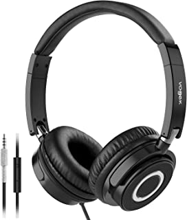On Ear Headphones with Mic, Vogek Lightweight Portable Fold-Flat Stereo Bass Headphones with 1.5M Tangle Free Cord and Microphone-Black