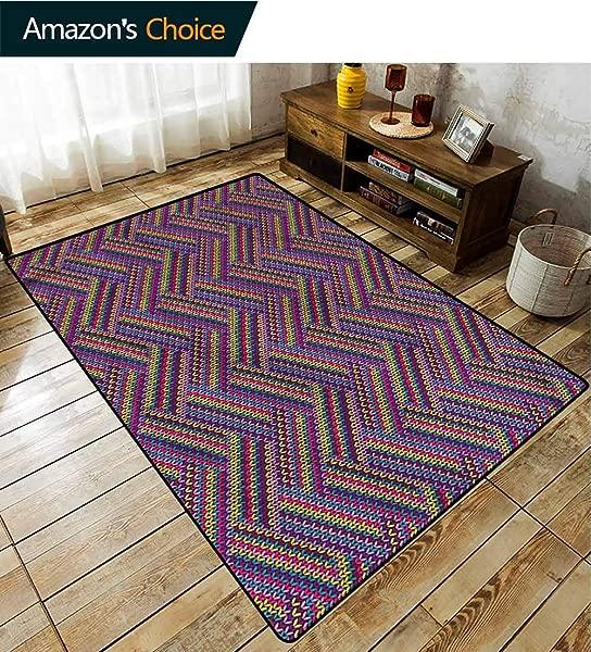 TableCoversHome Geometric Home Bedroom Carpet Floor Mat Colorful Knit Effect Pattern Printing Door Mat Easy Maintenance Area Rug Living Room Bedroom Carpet 5 X 8