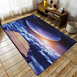 Collection Area Rug,Outer Space,Watching A Meteor Rain from A Wooden Dock Under The Sun Rays Image,Extra Large Rug Indigo Orange Brown