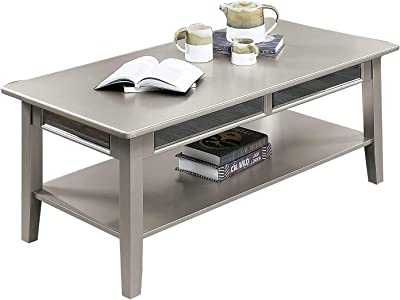 Benjara Transitional Coffee Table with Mirror Insert and Open Bottom Shelf, Silver