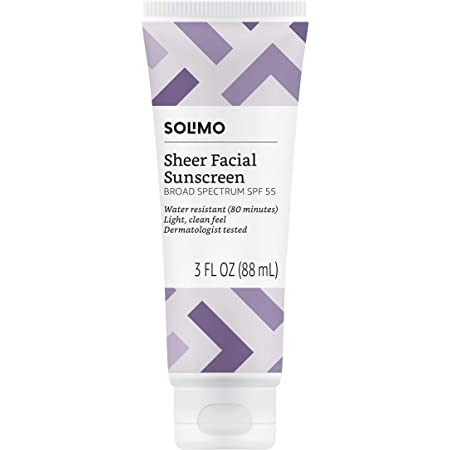Amazon Brand - Solimo Sheer Face Sunscreen SPF 55, 3 fl oz (Pack of 1)