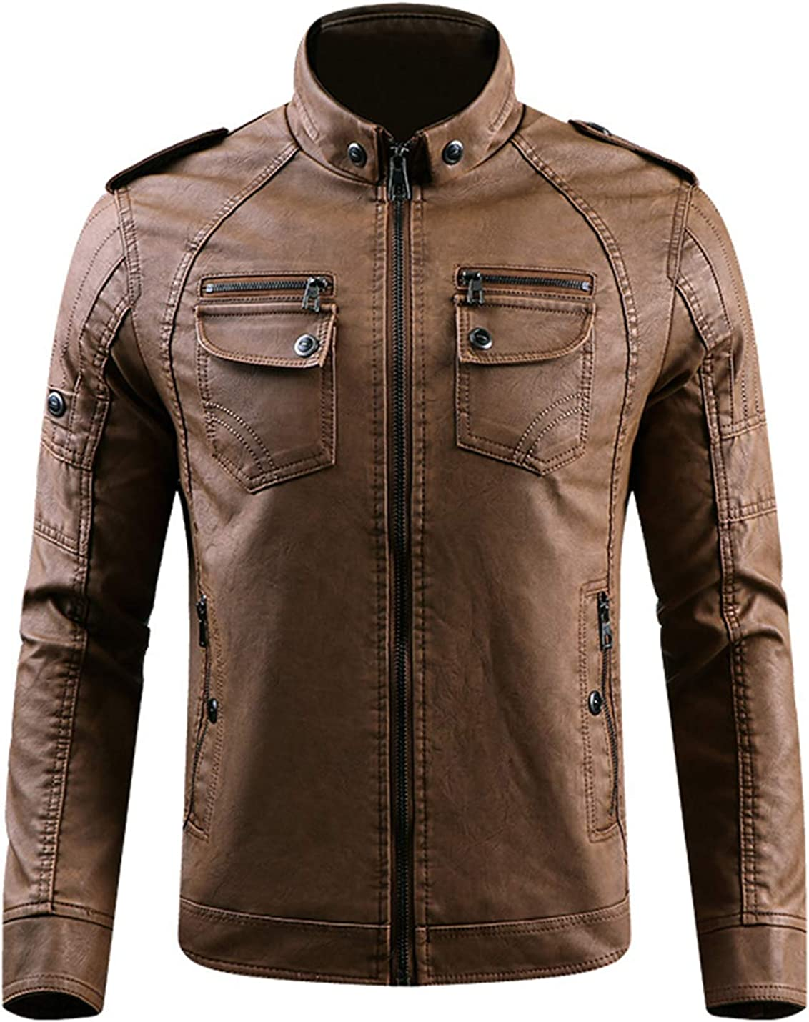 Gihuo Men's Sherpa Lined Faux Leather PU Moto Jacket