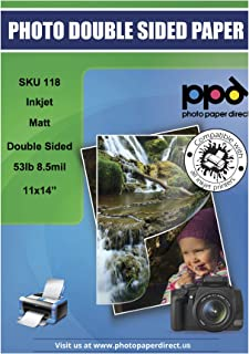 PPD Inkjet Matte Double Sided Heavyweight Paper 11x14'' 53lbs. 210gsm 9mil x 50 Sheets (PPD118-50)