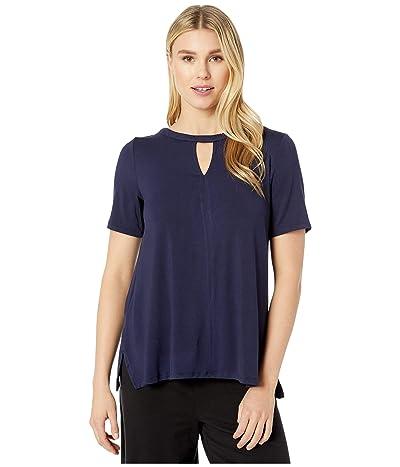Donna Karan Modal Spandex Jersey Short Sleeve Top (Ink) Women