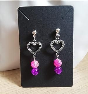 Pendientes de corazón de acero con cuentas de vidrio rosa púrpura joyería mujer idea de regalo niña bisutería hecha a mano
