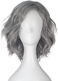 Miss U Hair Unisex Short Curl Wave Silver Grey Color Synthetic Cosplay Costume Wig