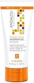 Andalou Naturals Mandarin Vanilla Vitalizing Shower Gel, 8.5 fl. oz, Gently Cleanses and Protects Skin's Moisture with Argan Oil and Coconut Water