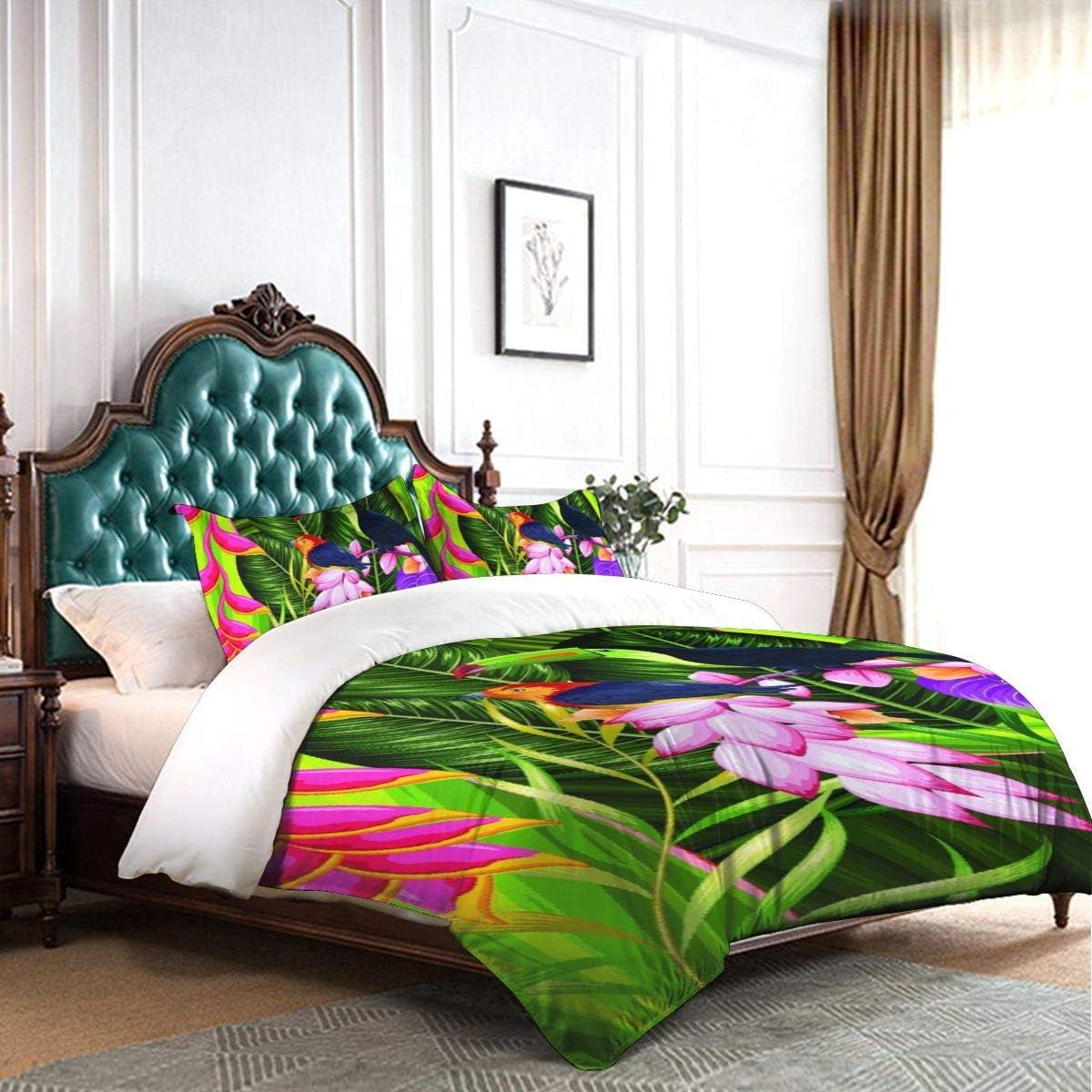 AIMILUX Parure de lit,Oiseaux Toucan Tropicaux,Housse de Couette en Microfibre 220x240cm+2 taies d'oreillers 50x75cm 1