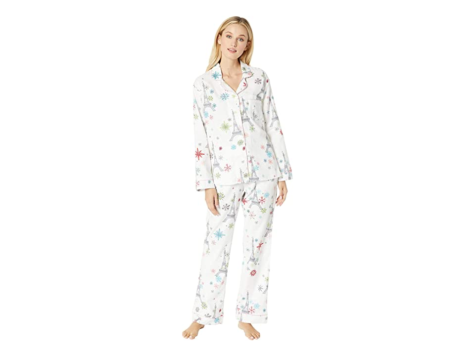BedHead Long Sleeve Classic Notch Collar Pajama Set (Eiffel Snowflakes) Women