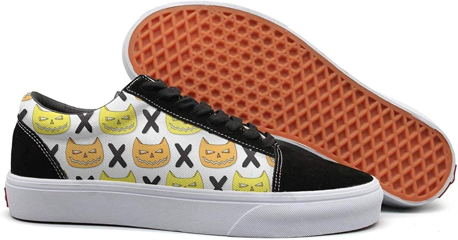Winging Womens Cats Skull Halloween Cross Fashionable Suede Canvas shoes Old Skool Sneakers