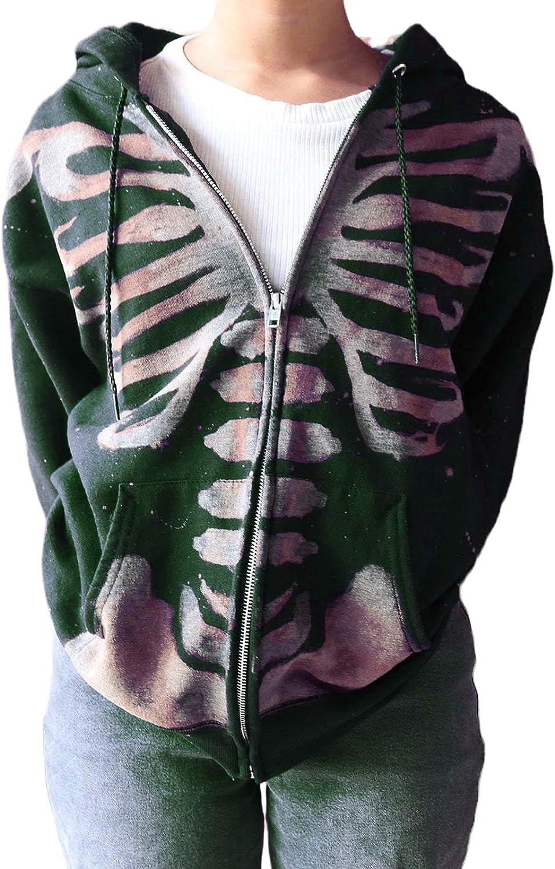 Skeleton Zip Up Hoodie Women Oversized Y2k Hooded Zipper Sweatshirt Long Sleeves Hoodies Jackets Streetwear